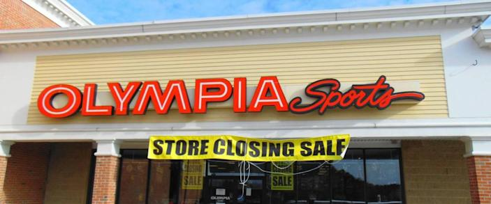 An Olympia Sports store going out of business in Webster, Massachusetts