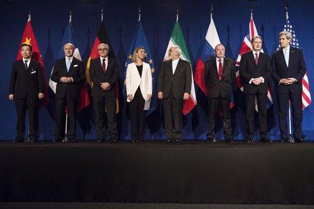 Delegates are seen in Lausanne following Iranian nuclear talks