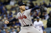 Atlanta Braves starting pitcher Mike Foltynewicz throws to a Los Angeles Dodgers batter during the first inning of a baseball game Wednesday, May 8, 2019, in Los Angeles. (AP Photo/Marcio Jose Sanchez)