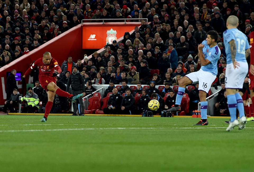 LIVERPOOL, ENGLAND - NOVEMBER 10: (THE SUN ON OUT, THE SUN ON SUNDAY OUT)  Fabinho  of Liverpool  scores the opener during the Premier League match between Liverpool FC and Manchester City at Anfield on November 10, 2019 in Liverpool, United Kingdom. (Photo by John Powell/Liverpool FC via Getty Images)
