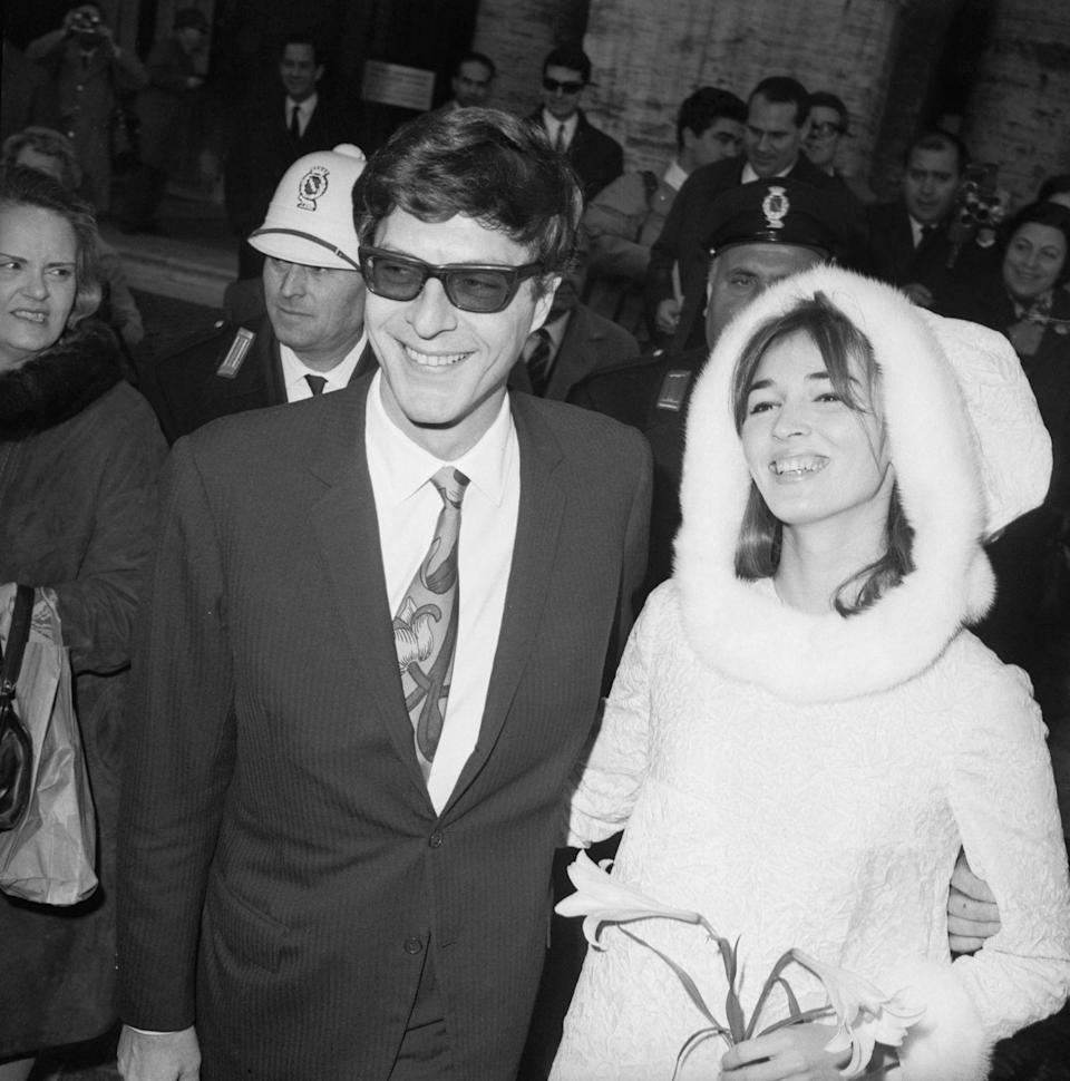 """<p>Talitha Pol, an actress and dancer, was married to John Paul Getty Jr. from 1966 until her death in 1971. His father, Jean Paul Getty, founded the Getty Oil company and was in the '50s, one of the richest Americans.</p><p>On their wedding day, December 10, 1966, Talitha wore a creamy velvet mink-trimmed hooded minidress. The dancer later <a href=""""https://www.refinery29.com/en-us/2018/05/198269/who-was-talitha-getty-wife-fashion-icon-trust-fx"""" rel=""""nofollow noopener"""" target=""""_blank"""" data-ylk=""""slk:became a style icon"""" class=""""link rapid-noclick-resp"""">became a style icon</a> thanks to her boho fashion sensibility—Pol was the muse for Chloe's<a href=""""https://www.vogue.com/fashion-shows/spring-2002-ready-to-wear/chloe"""" rel=""""nofollow noopener"""" target=""""_blank"""" data-ylk=""""slk:2002 spring collection"""" class=""""link rapid-noclick-resp""""> 2002 spring collection</a>—and her lavish yet tragic life (she died of a heroin overdose at 31) is well documented on screen in the FX show <em>Trust</em>. </p>"""