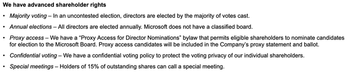 A screenshot of the list of rights Microsoft offers to shareholders