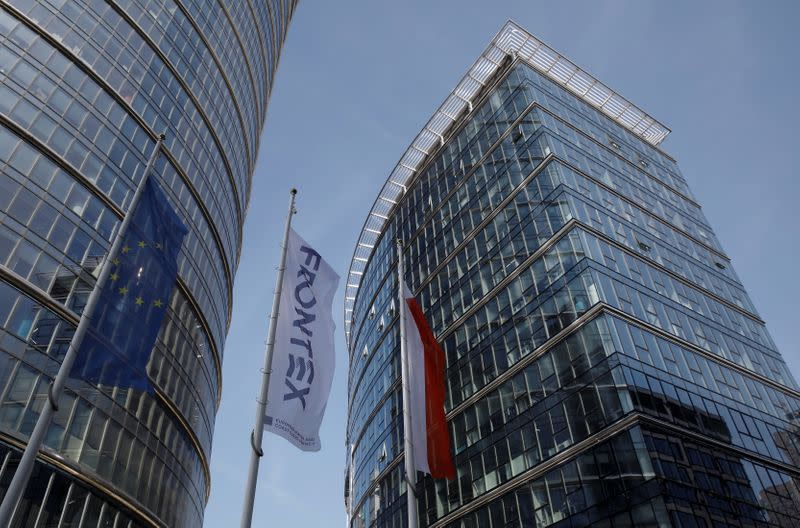 View shows headquarters of EU border agency Frontex in Warsaw
