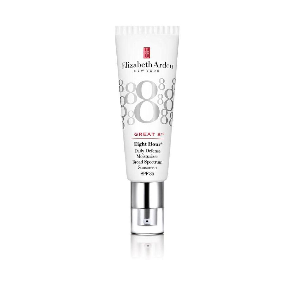 "<p>While the original 8 Hour Cream is beloved by the pros, the ointment is way too thick to put all over the face (it's regularly used as a lip balm or targeted treatment for severely dry patches of skin). The <span>Elizabeth Arden Eight Hour Great 8 Daily Defense Moisturizer</span> ($42), on the other hand, is a favorite of makeup artist Grace Ahn, who, in addition to shooting for some of the world's best fashion magazines, also works with celebs like Lizzo, <a class=""link rapid-noclick-resp"" href=""https://www.popsugar.co.uk/Katy-Perry"" rel=""nofollow noopener"" target=""_blank"" data-ylk=""slk:Katy Perry"">Katy Perry</a>, MJ Rodriguez, and Indya Moore. ""This moisturizer has the perfect texture for under makeup,"" Ahn explained. ""It is a lightweight liquid that is extremely hydrating, leaving the skin with a dewy finish and giving the best slip for under any makeup. It also has an SPF 35, which is a bonus.""</p>"