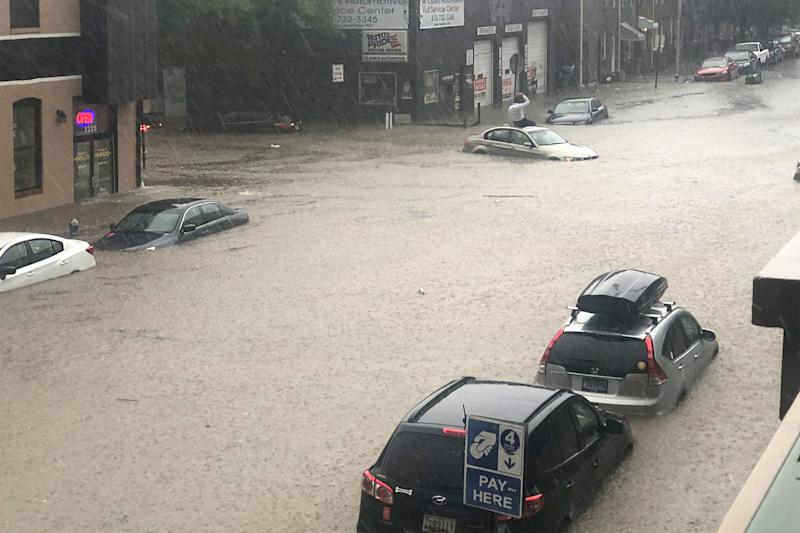 Cars Submerged in Floodwaters as 'Terrifying' Thunderstorm Batters Baltimore with Strong Hail