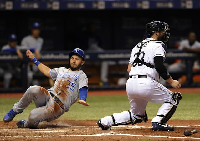Laying off inside pitches has allowed Eric Hosmer to rediscover his swing. (AP Photo/Steve Nesius)
