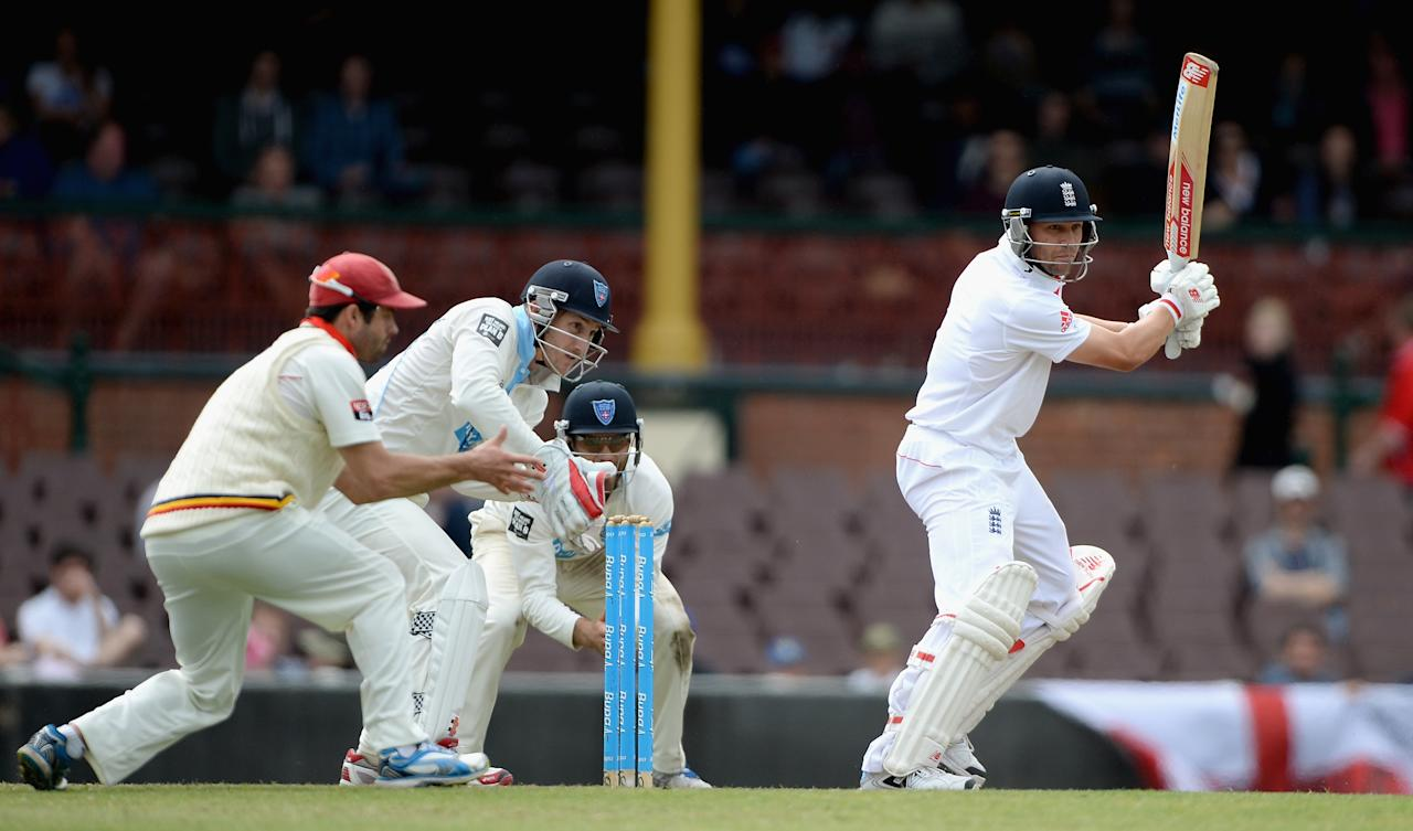 SYDNEY, AUSTRALIA - NOVEMBER 16:  Jonathan Trott of England bats during day four of the tour match between CA Invitational XI and England at the Sydney Cricket Ground on November 16, 2013 in Sydney, Australia.  (Photo by Gareth Copley/Getty Images)