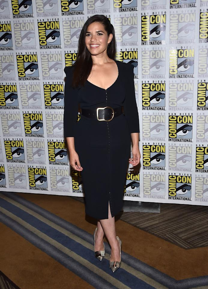 """America Ferrera arrives for """"Superstore"""" press line at the Hilton Bayfront during Comic Con in San Diego, California on July 18, 2019. Photo courtesy of Getty Images."""