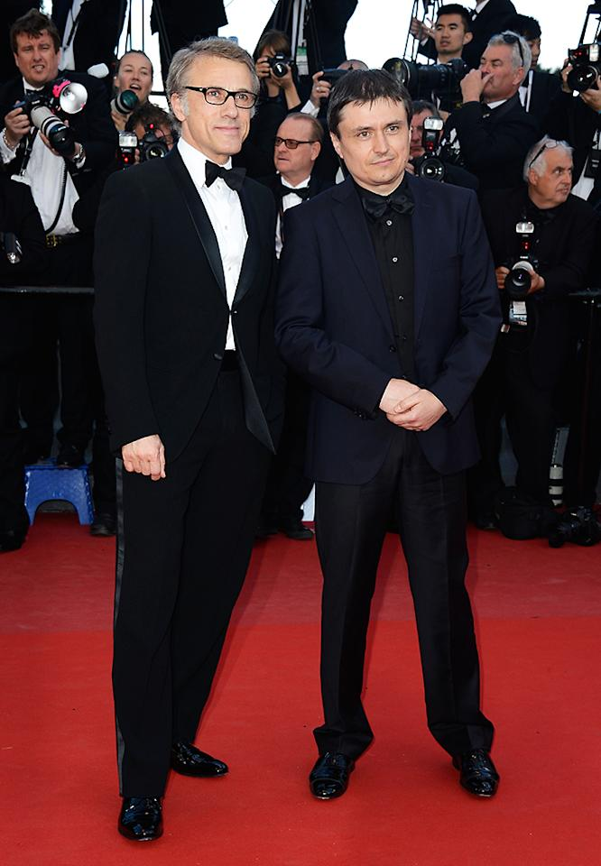 CANNES, FRANCE - MAY 21: Jury members actor Christoph Waltz (L) and Romanian director Cristian Mungiu  attend the 'Behind The Candelabra' premiere during The 66th Annual Cannes Film Festival at Theatre Lumiere on May 21, 2013 in Cannes, France.  (Photo by Pascal Le Segretain/Getty Images)