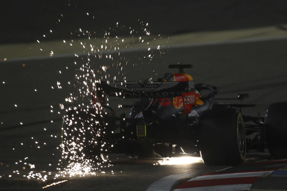 Red Bull driver Max Verstappen of the Netherlands steers his car during the qualifying session at the Formula One Bahrain International Circuit in Sakhir, Bahrain, Saturday, Dec. 5, 2020. The Bahrain Formula One Grand Prix will take place on Sunday. (Brynn Lennon, Pool via AP)