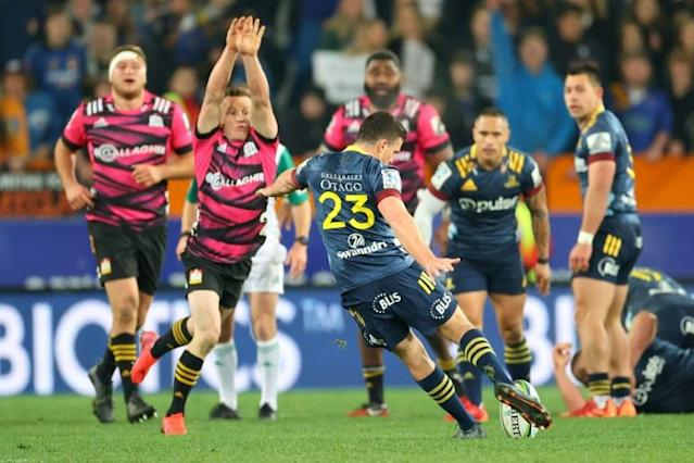 Bryn Gatland kicked the winning drop goal for the Highlanders (AFP Photo/Marty MELVILLE)