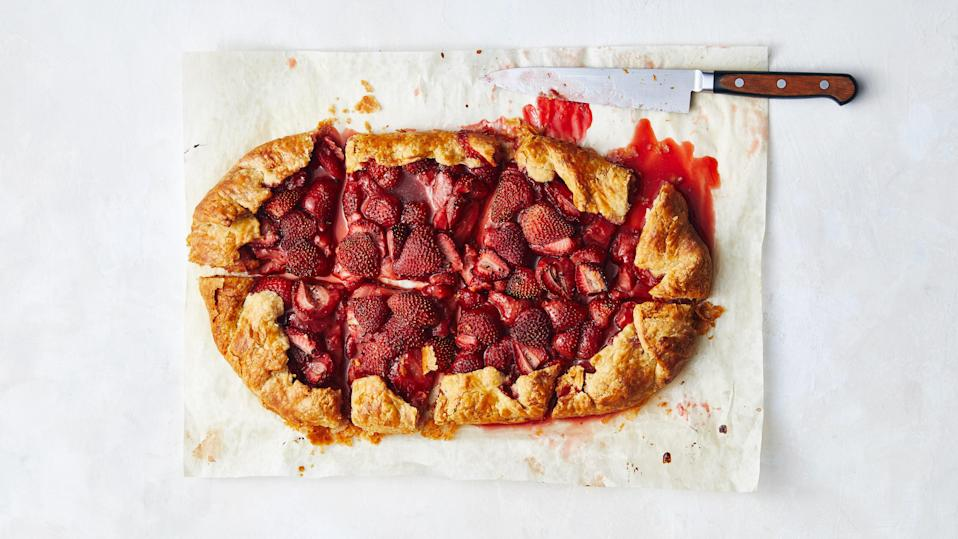 "Use all strawberries, or try a combo for a particularly beautiful mix of colors (and flavors!). You may need to mound the berries up higher in the center than the edges in order to get them all to fit. <a href=""https://www.epicurious.com/recipes/food/views/any-berry-galette?mbid=synd_yahoo_rss"" rel=""nofollow noopener"" target=""_blank"" data-ylk=""slk:See recipe."" class=""link rapid-noclick-resp"">See recipe.</a>"
