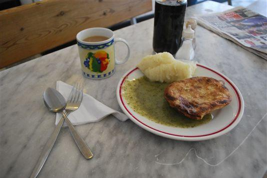 Lunch in a traditional London pie and mash shop