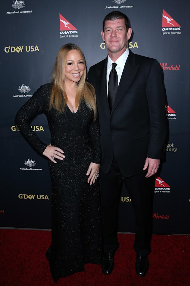 <p>Mark it: on on Thursday, January 28, Mariah Carey's massive engagement ring from fiancé James Packer made its official red carpet debut. Attending the G'Day USA event in Los Angeles, Calif., the singer, her billionaire hubby, and the ridiculous diamond on her finger posed for photos together. She wore a black long-sleeved sparkly dress, and he wore a tuxedo with a black satin tie. But while the <i>Butterfly</i> artist looked beautiful, all eyes were certainly on the 35-carat diamond and platinum<b> </b>ring on her digit. <i>(Photo: Getty Images)</i><br /></p>