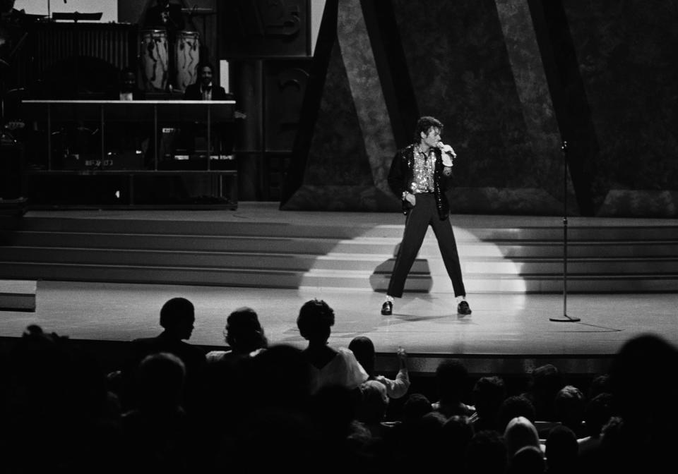 """Michael Jackson performing """"Billie Jean"""" during the <em>Motown 25</em> special, which aired on May 16, 1983. (Photo: Getty Images)."""