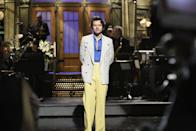 """<p>....but he also gave us this <a href=""""https://harryfashionarchive.com/post/611031025567629312/harry-performing-on-the-today-show-february-26"""" rel=""""nofollow noopener"""" target=""""_blank"""" data-ylk=""""slk:straight-from-the-runway yellow look"""" class=""""link rapid-noclick-resp"""">straight-from-the-runway yellow look</a>—like the ball of sunshine that he is—while hosting. We are truly so blessed.</p>"""