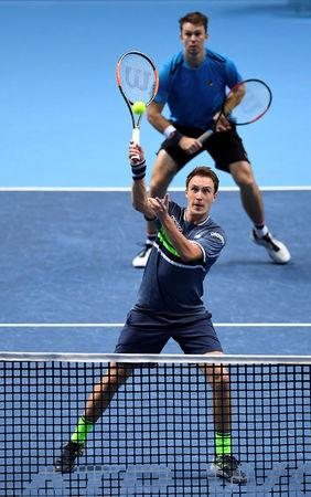 Tennis - ATP World Tour Finals - The O2 Arena, London, Britain - November 18, 2017   Finland's Henri Kontinen and Australia's John Peers in action their doubles semi final match against Britain's Jamie Murray and Brazil's Bruno Soares    Action Images via Reuters/Tony O'Brien