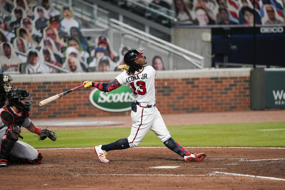 Atlanta Braves' Ronald Acuna Jr. (13) in action against the Miami Marlins on Tuesday, Sept. 22, 2020, in Atlanta. (AP Photo/Brynn Anderson)