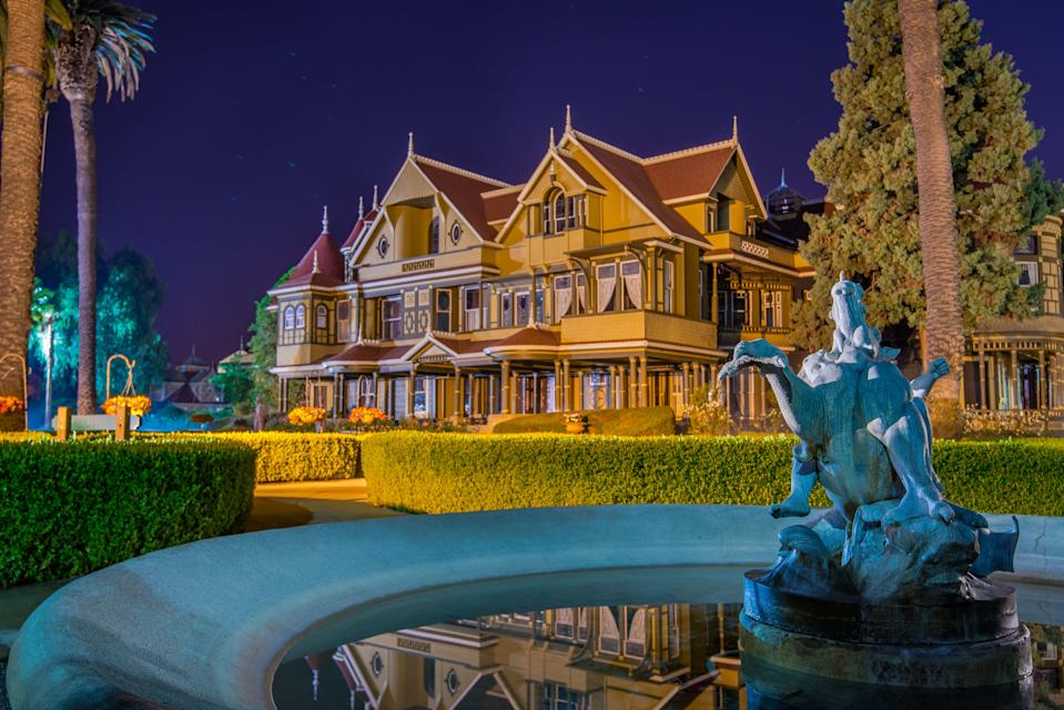 The Winchester Mystery House in San Jose, California, was built by Sarah WInchester, the widow of an heir to Winchester Repeating Arms, which still manufactures rifles today. It features 10,000 windows and 2,000 doors, which are reportedly intended to confuse the evil spirits lurking in the home.