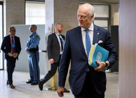 UN Special Envoy for Syria Staffan de Mistura arrives at a meeting with government delegation during Syria peace talks in Geneva