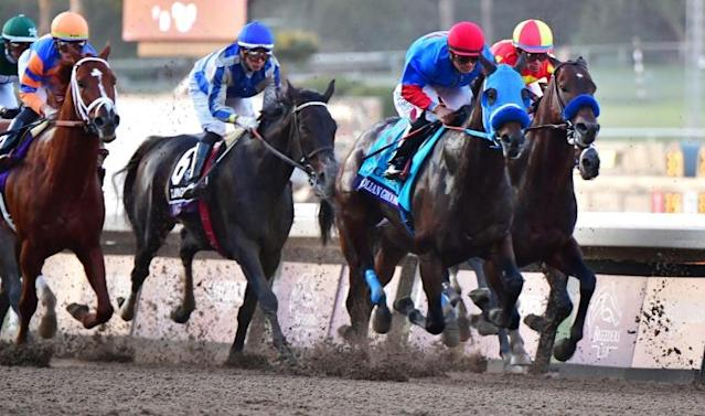 Jockey Abel Cedilo rides Mongolian Groom, second from the right, in last year's Breeders Cup Classic race at Santa Anita before the horse suffered a breakdown and was euthanized (AFP Photo/Frederic J. BROWN)