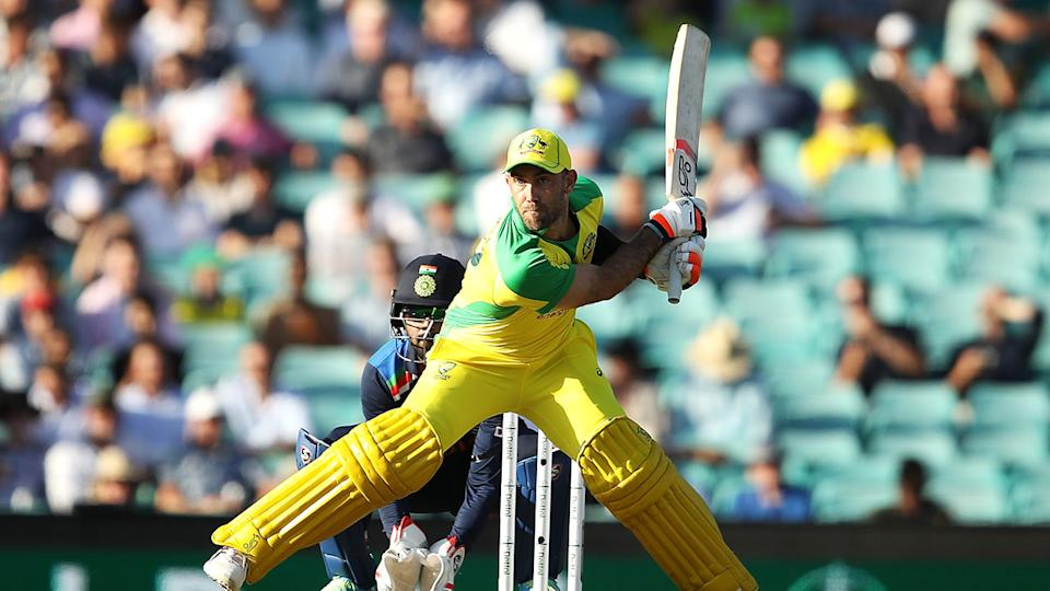 Glenn Maxwell can be seen here switch-hitting in the ODI series against India.