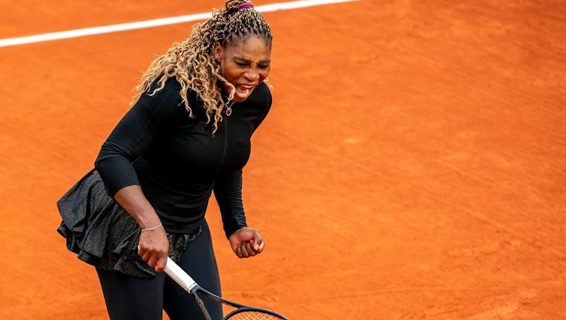Serena Williams (USA) reacts during her match against Kristie Ahn (USA) on day two of the 2020 French Open at Stade Roland Garros.