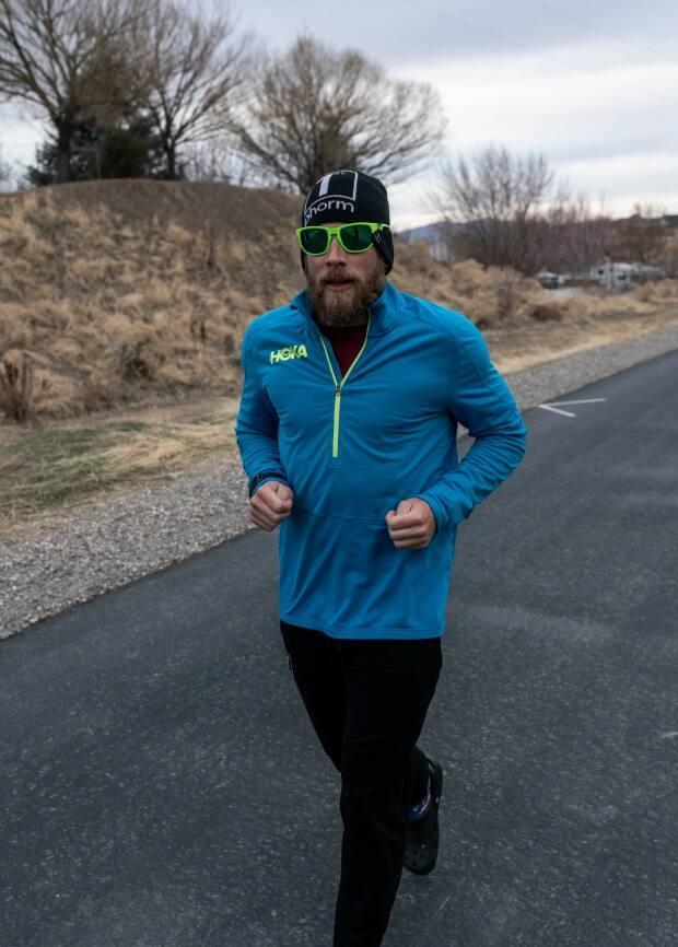 James Lawrence completed the same Ironman circuit every day in Lindon, Utah, from March 1 until June 8. (Submitted by Lucy Lawrence - image credit)