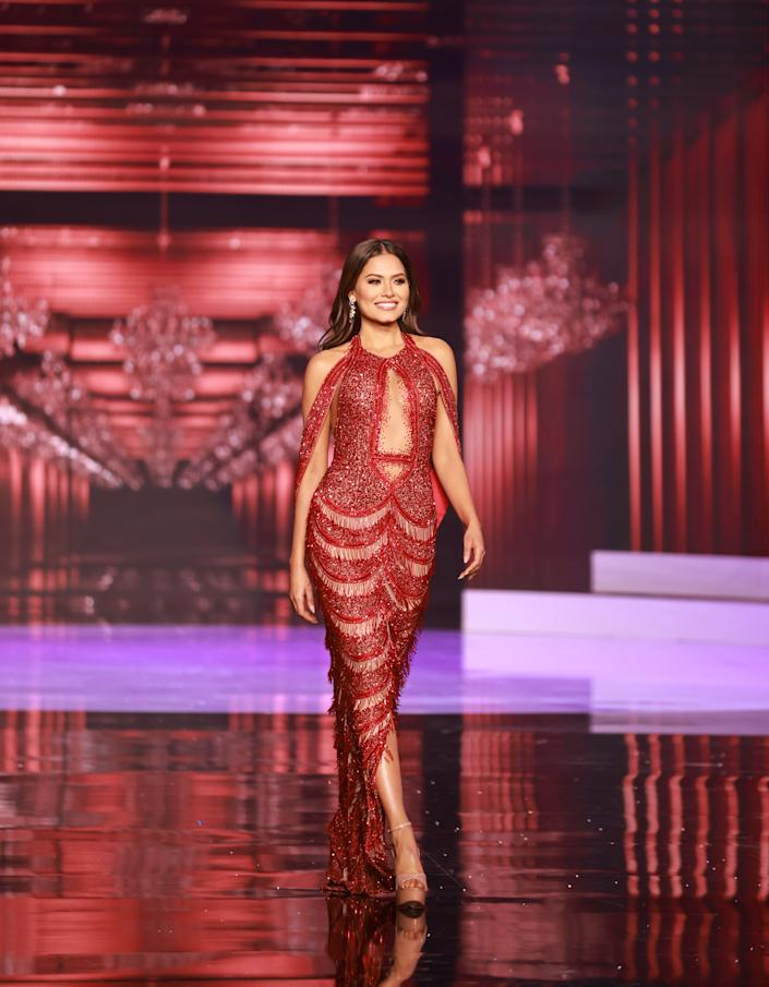 <p>Andrea Meza, Miss Universe Mexico 2020 competes on stage as a Top 10 finalist in an evening gown of her choice during the 69th Miss Universe Competition on May 16, 2021 at the Seminole Hard Rock Hotel & Casino in Hollywood, Florida airing LIVE on FYI and Telemundo. Contestants from around the globe have spent the last few weeks touring, filming, rehearsing and preparing to compete for the Miss Universe crown. (PHOTO: Miss Universe)</p>