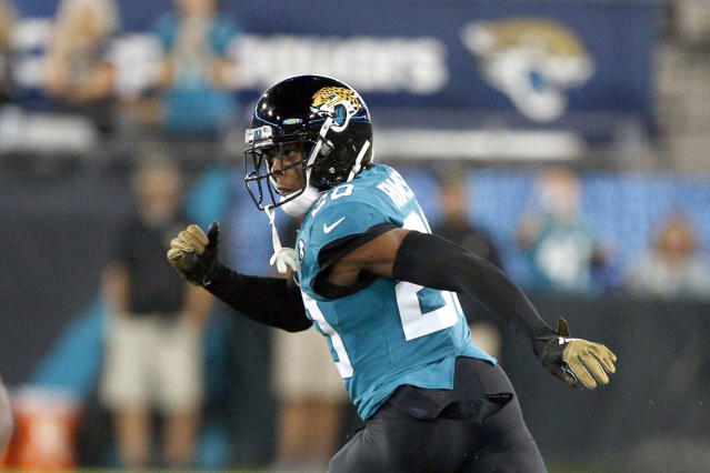 FILE - In this Thursday, Sept. 19, 2019, file photo, Jacksonville Jaguars cornerback Jalen Ramsey covers a Tennessee Titans player during the first half of an NFL football game in Jacksonville, Fla. The Jaguars have no idea what's next for disgruntled cornerback Jalen Ramsey. If the past is any indication, it's sure to include something out of the ordinary.(AP Photo/Stephen B. Morton, File)