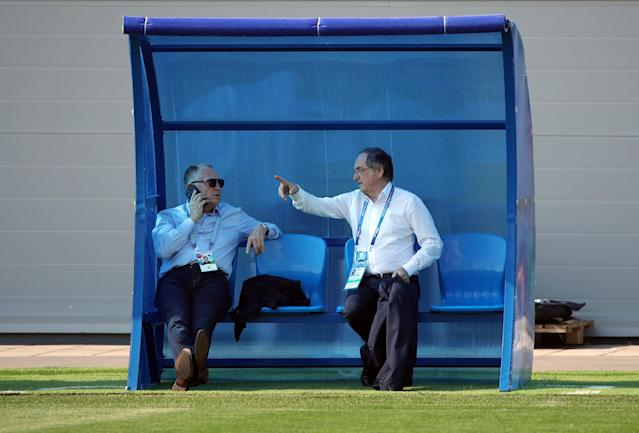 Soccer Football - World Cup - France Training - France Training Camp, Moscow, Russia - June 18, 2018 France football federation president Noel Le Graet with Lyon president Jean-Michel Aulas during training REUTERS/Albert Gea