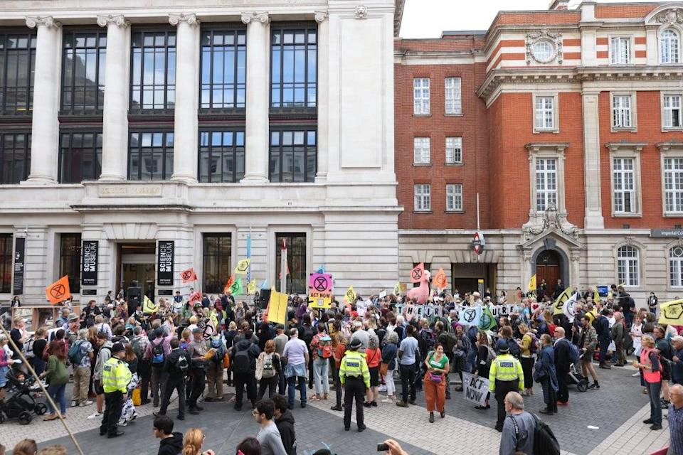 Demonstrators during a protest by Extinction Rebellion near the Science Museum (James Manning/PA) (PA Wire)