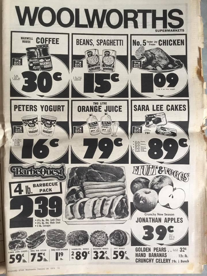 An advertisement for Woolworths from 1973, showing different grocery items and their prices.