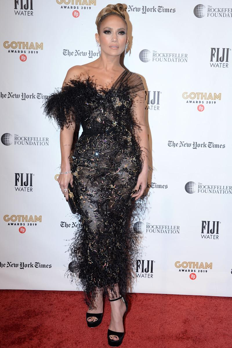 Jennifer Lopez in black sheer Ralph & Russo dress on the red carpet