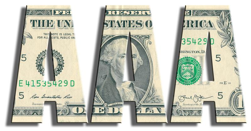 """Three capital letter """"A""""s made of dollar bills spelled out in a row."""