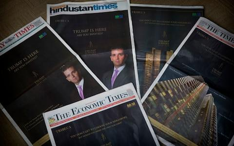 Trump Jr took out front page adverts in many Indian daily papers