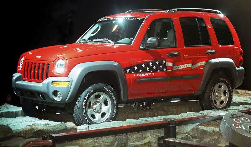 The Jeep Liberty Patriotic Edition is displayed at the North American International Auto Show in Detroit, Michigan, in this file photo taken January 6, 2002. REUTERS/Stringer