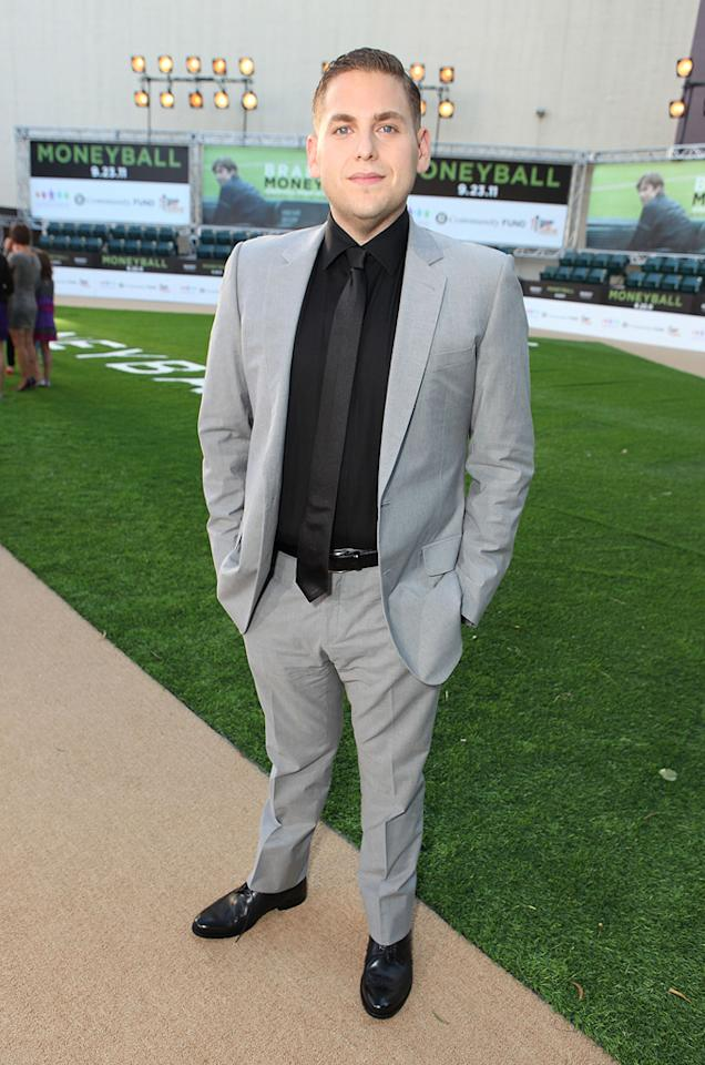 """<a href=""""http://movies.yahoo.com/movie/contributor/1808716500"""">Jonah Hill</a> at the Oakland premiere of <a href=""""http://movies.yahoo.com/movie/1810166670/info"""">Moneyball</a> on September 19, 2011."""