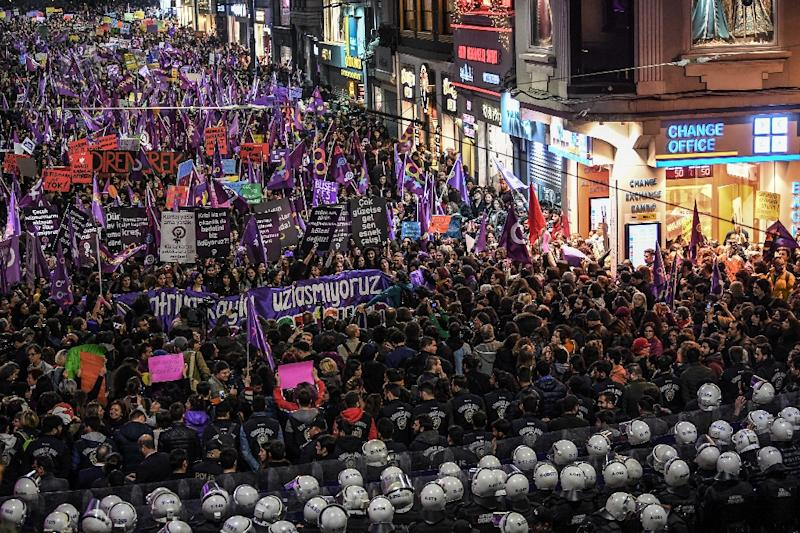 Activists have long accused President Recep Tayyip Erdogan's Islamic-rooted government of not doing enough to stop violence against women (AFP Photo/Ozan KOSE)