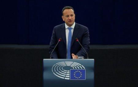 Ireland's Taoiseach Leo Varadkar delivers a speech during a debate on the Future of Europe at the European Parliament in Strasbourg, France, January 17, 2018.  REUTERS/Vincent Kessler