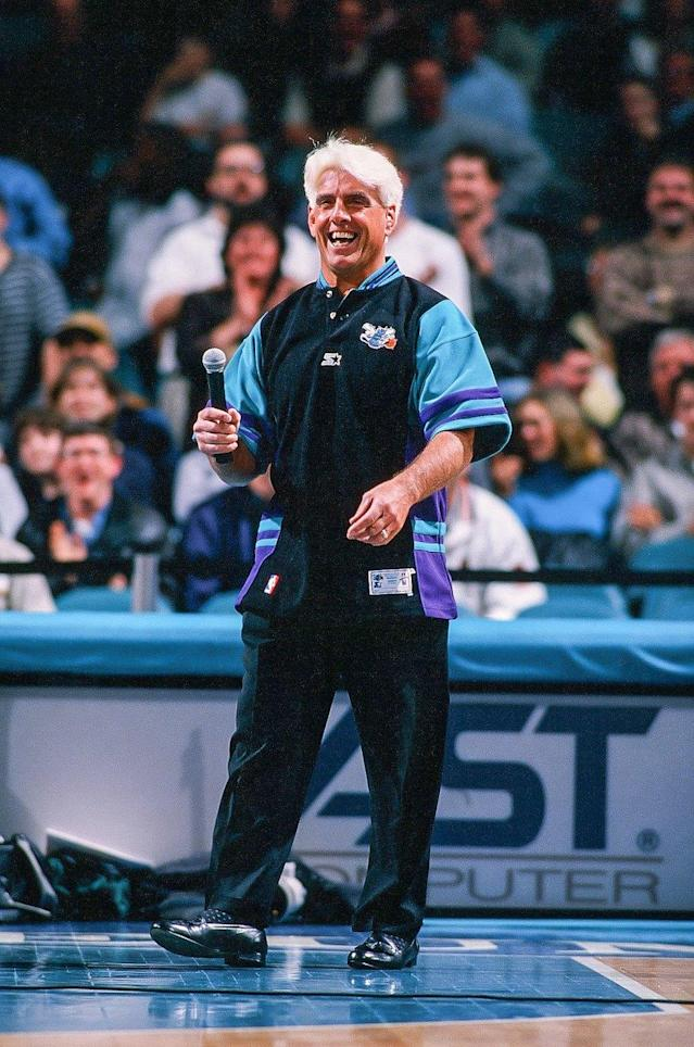 <p>Ric Flair of the Charlotte Hornets during the game against the Seattle Supersonics on March 6, 1998 at Charlotte Coliseum in Charlotte, North Carolina. (Photo by Sporting News via Getty Images) </p>