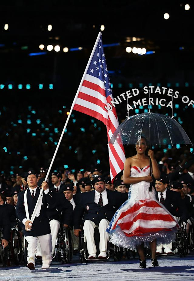 LONDON, ENGLAND - AUGUST 29: Athlete Scott Danberg of United States carries the flag during the Opening Ceremony of the London 2012 Paralympics at the Olympic Stadium on August 29, 2012 in London, England. (Photo by Dan Kitwood/Getty Images)