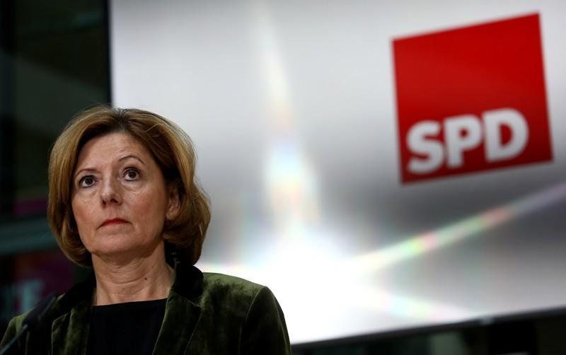 FILE PHOTO:  Germany's Social Democrats party reacts to Thuringia state election during a news conference in Berlin