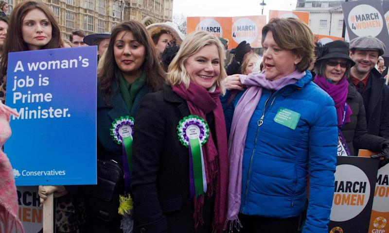 Justine Greening and Maria Miller on a March4Women in London, 4 March.
