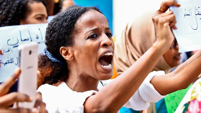 Women chant slogans during a demonstration calling for the repeal of family law in Sudan, on the occasion of International Women's Day, outside the Justice Ministry headquarters in the capital Khartoum on March 8, 2020.