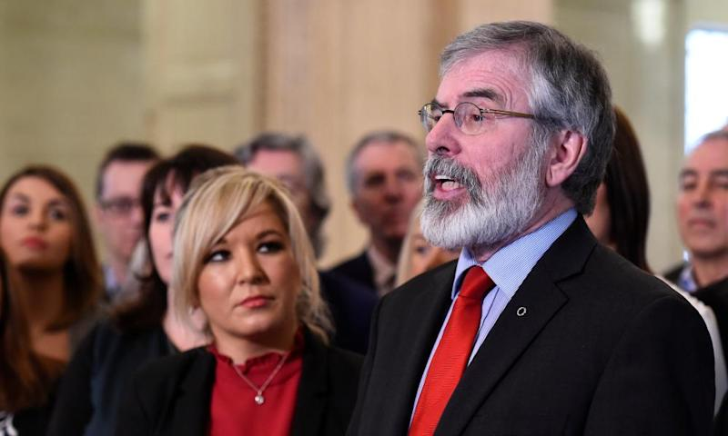 Sinn Féin's leader Michelle O'Neill with Gerry Adams at parliament buildings in Belfast.