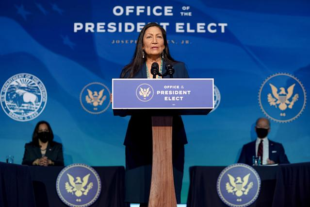 Rep. Deb Haaland (D-N.M.) has been nominated to lead the Interior Department and is the first Native American to be chosen as a cabinet secretary. (Amr Alfiky/The New York Times)