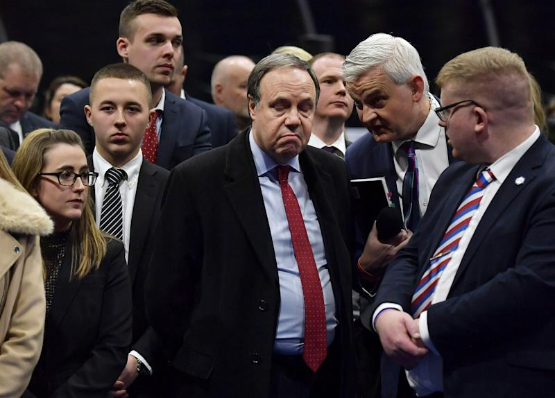 Nigel Dodds reacts after losing his seat (Getty Images)