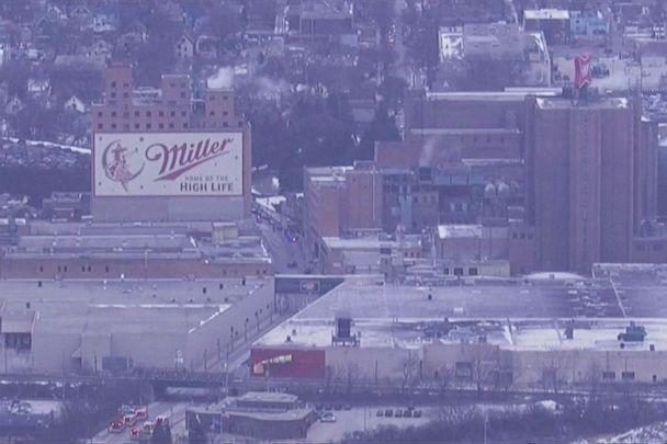 PHOTO: The police are working on the scene where the shooting took place near the MolsonCoors campus in Milwaukee on February 26, 2020. (WISN)