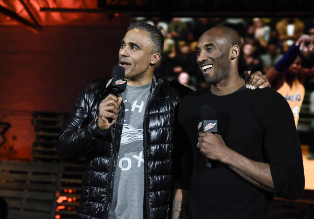 There were erroneous reports that Rick Fox (left), a teammate of Kobe Bryant's from 1997-2004, was also on the helicopter during the fatal crash. (Photo by Dan Steinberg/Invision for NBA 2K/AP Images)